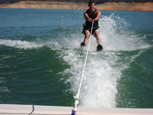 Aaron water skiing up close on the slalom.