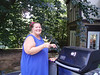 Sue at the grill