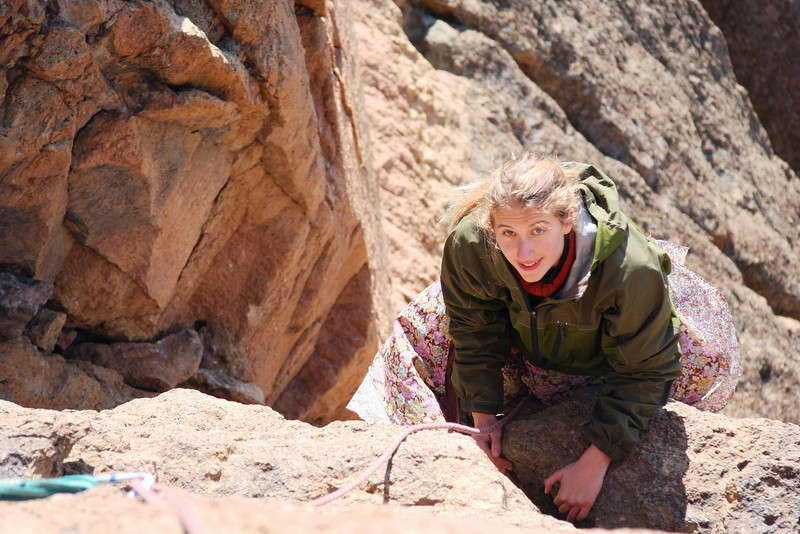 Tracy glances up from below on the second pitch of the <i>Pioneer Route 5.7 A1</i>.