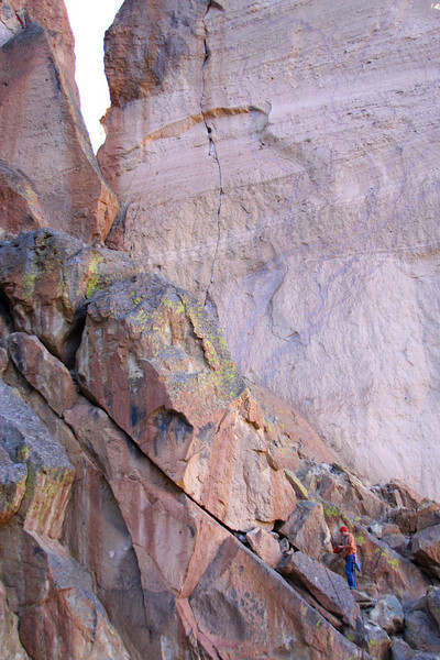 Andrew takes off following on the first pitch of the <i>Pioneer Route 5.7 A1</i>.