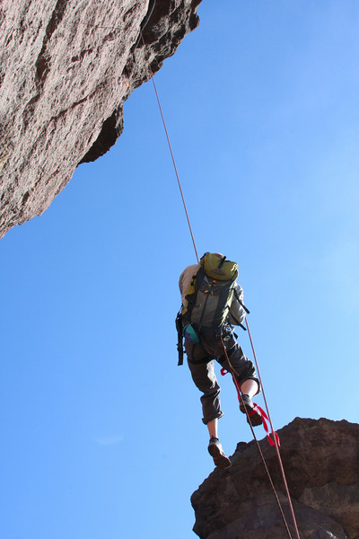 Casey takes off following Andrew up the third pitch of the <i>Pioneer Route 5.7 A1</i>.