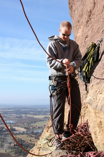 There's a bit of a mess for Casey Cardwell at the belay atop the second pitch.