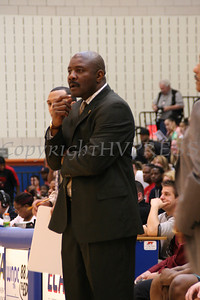 Hudson Valley Hawks Head Coach Robert McMillian watches the game.
