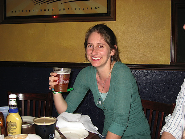 Katy going after a (non-green (lame!)) beer