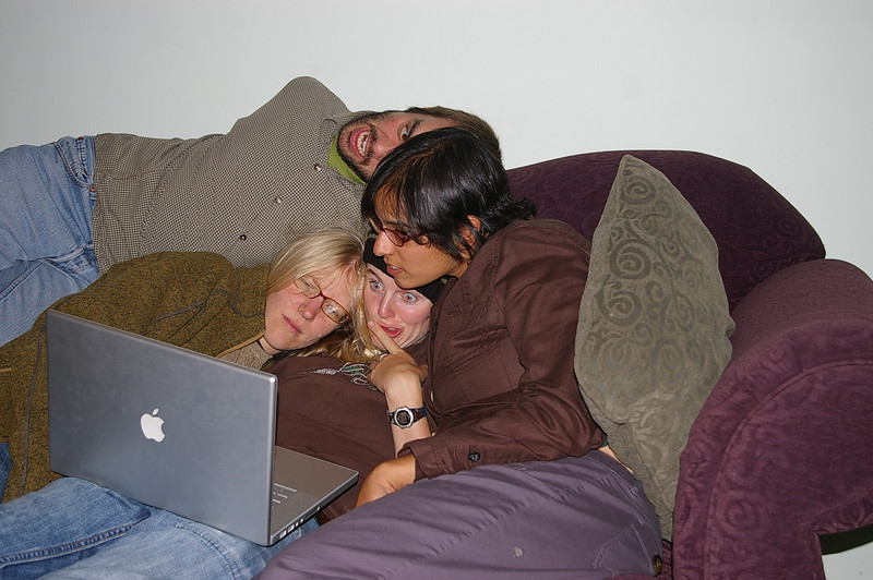 William, Anne, Deirdre, and Sara enjoy the built-in camera on the laptop.
