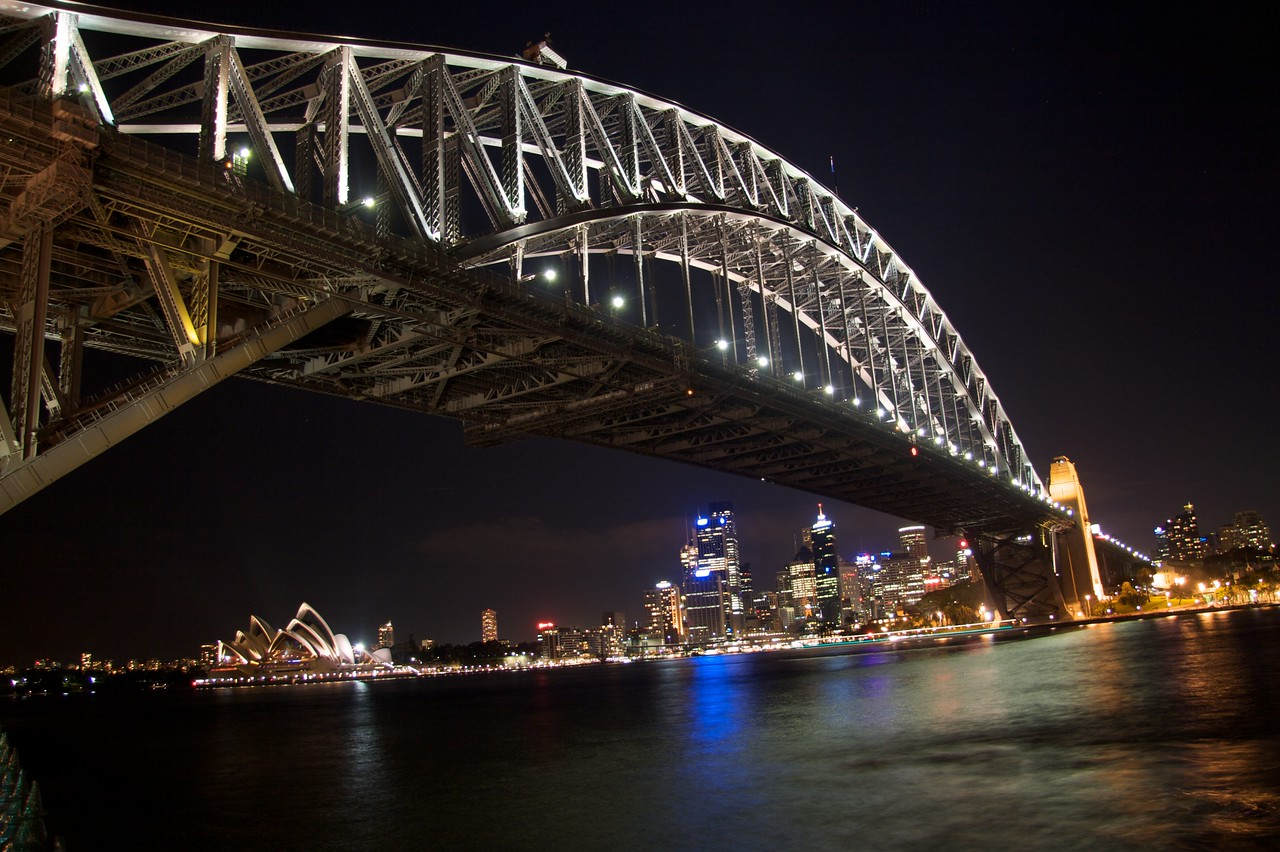 The Harbour at night • Looking from Milson's Point under the Harbour Bridge towards Sydney Opera House.