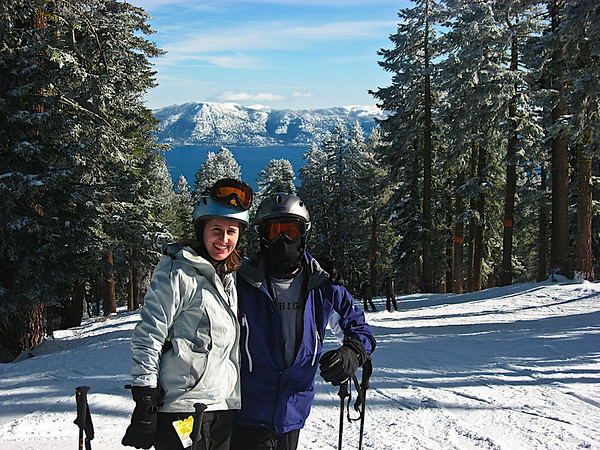 The one spot at Northstar that faces Lake Tahoe and I sported my ninja mask for the photo