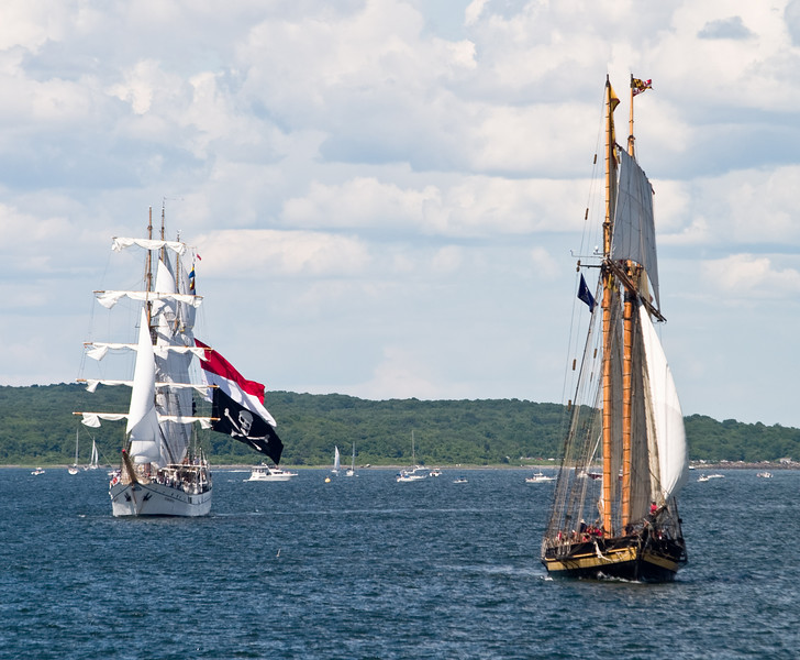 "The ""Pride of Baltimore II"", followed by the ""Dewaruci""."