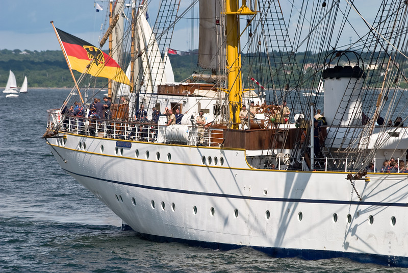 """The stern of the """"Gorch Fock""""."""