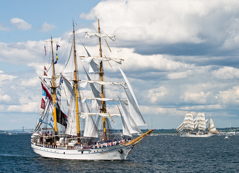 "The ""Dewaruci"", with the ""Gorch Fock"" in the background."