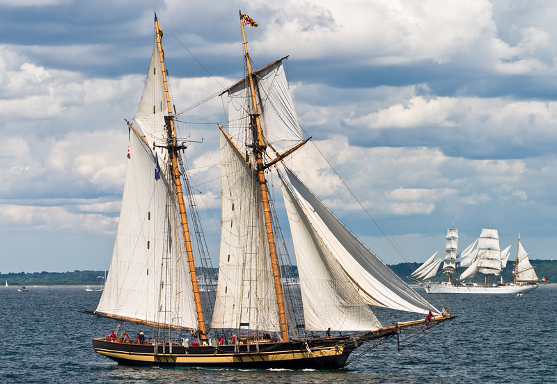 "The ""Pride of Baltimore"", with the ""Gorch Fock"" in the background."
