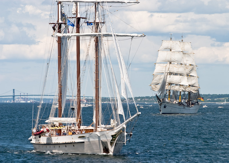 """The """"Mystic"""", followed by the """"Gorch Fock""""."""