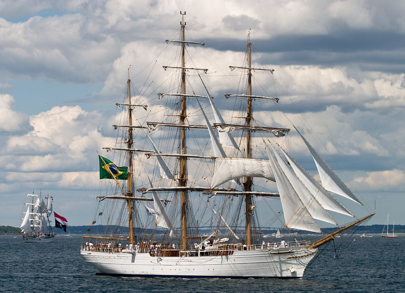 "The ""Cisne Branco"", followed by the ""Dewaruci""."