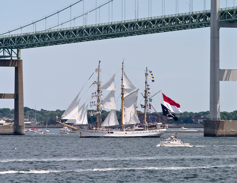"The Indonesian ""Dewaruci"", with sailers on the spars."