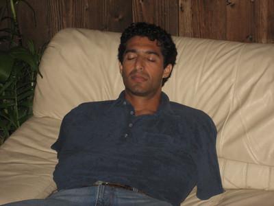 Peltz sleeping through the chilly LA summer night