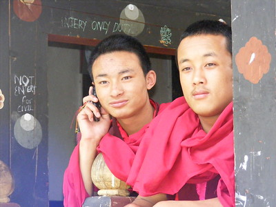 Monks On Cell Phone at Trongsa Dzong - Mibs Mara