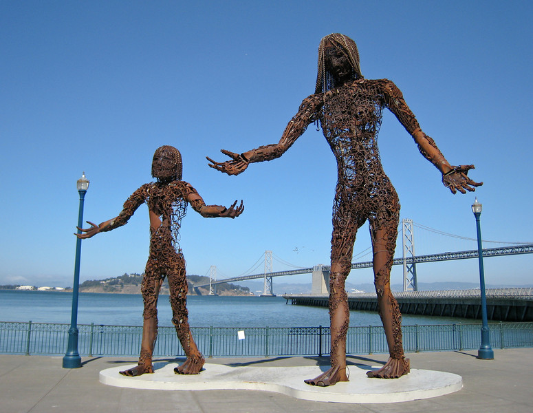 """""""Passage"""", with the Bay Bridge in the background."""