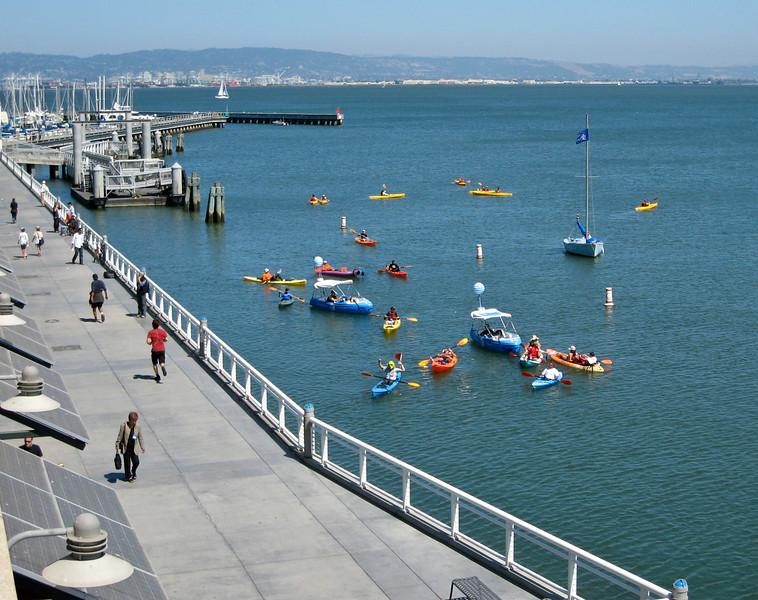 Kayakers, waiting for home run balls?