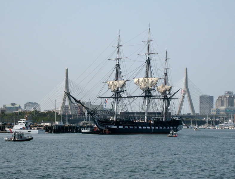 """A rare sight: USS Constitution """"Old Ironsides"""" in Boston Harbor."""