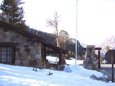 The Tioga Pass entrance station. This is the flagpole on the YA website. The camera  is on the tree in the center of the picture.