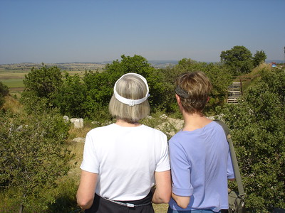Winky van der Hoeven and Cindy Becker looking over the silted plains near Troy - Liz Greenberg