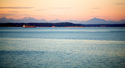 Sunset on the North Cascades, looking due east from Dad's porch over the Puget Sound (and Widbey Island.)