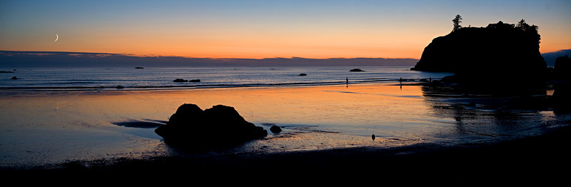 "Right after sunset on Ruby Beach, with a sliver of a moon on the horizon. This image is a panorama composed of 4 separate photos. Click on ""original"" image size and scroll from L to R to see more detail (you get this option when you mouse over the image itself.)"