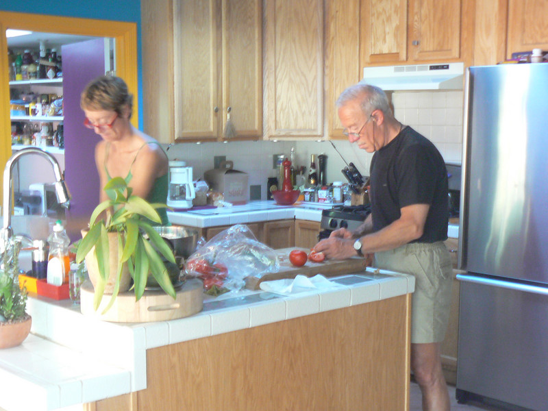 Muriel and Gilles preparing the 1st dinner