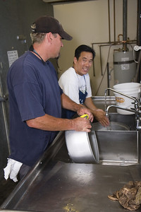 Jim and fellow obon volunteer on scrubbing duty.