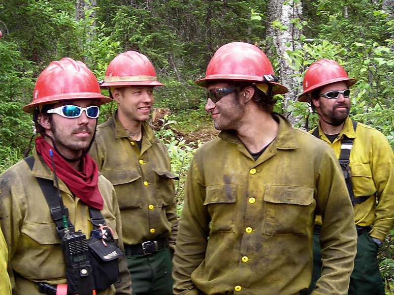 Firefighters waiting for demobilization from the fireline: Richard Harrop, Aaron Seaton, Andy Zola, and Cim Smyth.