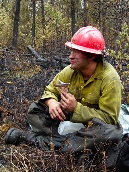 Another MRE for Andy Zola on the fireline.