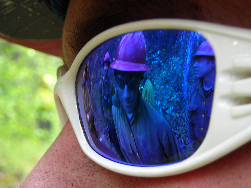 Andy Zola reflected in Richard Harrop's safety glasses.