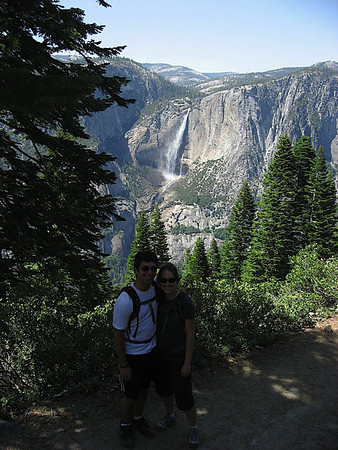 Katy and I posing on the 4 Mile Trail, in front of Yosemite Falls