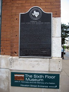 Historical marker at the former Texas School Book Depository