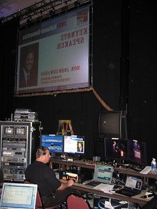 Backstage setup during Sen. John Edwards' keynote address.