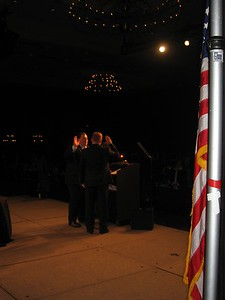 Outgoing president Chris Gallaway administers the oath of office to incoming president David Hardt.
