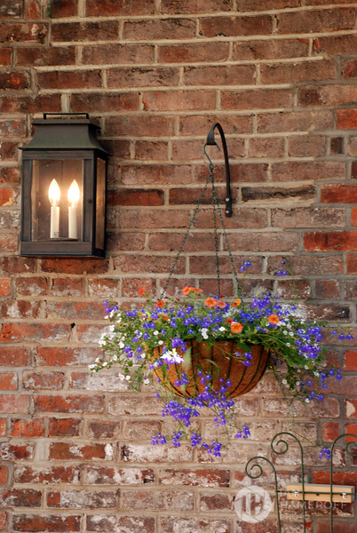 Hanging Basket by Electric Candle Light
