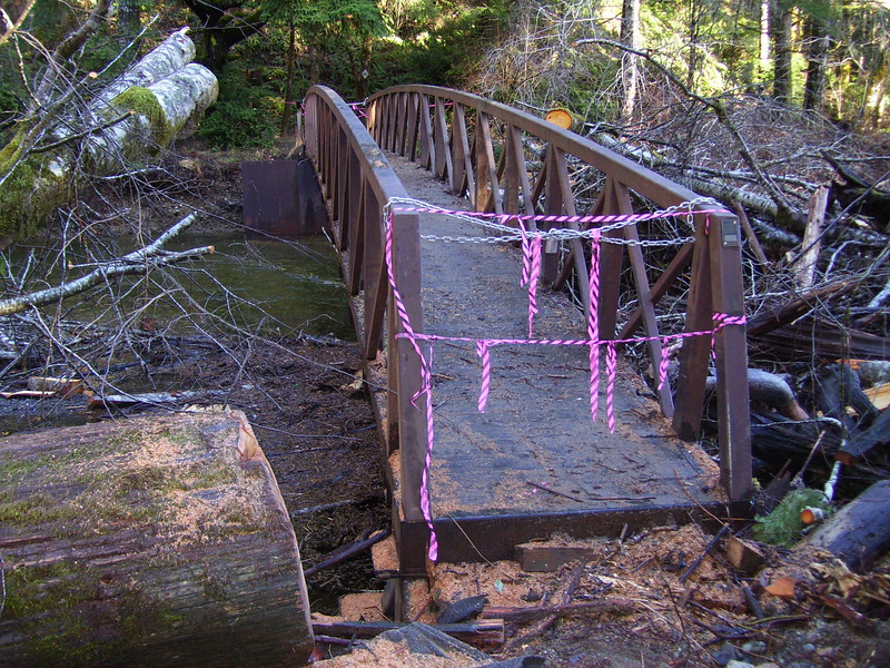 The bridge at the Tahuya River Horse Camp. The DNR is hoping to get some FEMA money to fix it. It Looked useable to me except for the big padlock and chain.