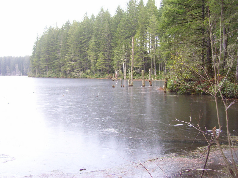 A frozen Goat Ranch Pond.