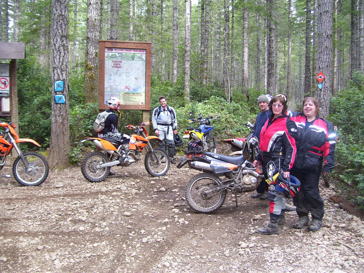 Junction of Tahuya River Trail and Mission Creek Trail. Caught Sylvia with no hat again!