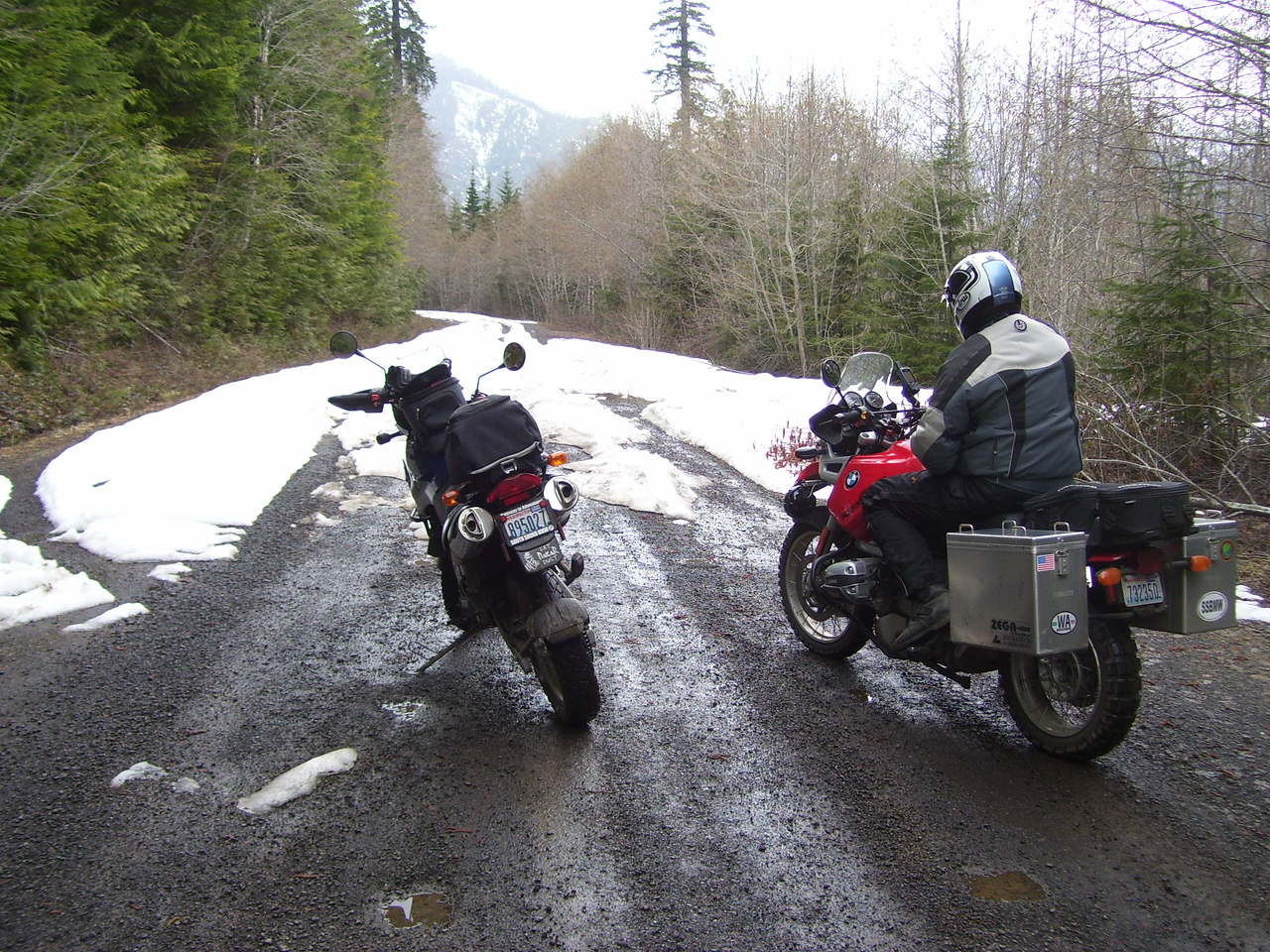 """Thursday, Dorian & I were out scouting for the """"Shelton Rally"""". We hit snow everywhere we went at about 1100' elevation. I had 160 miles on the Dakar odometer at the end of the day. Thank god for Gerbing heated gear."""