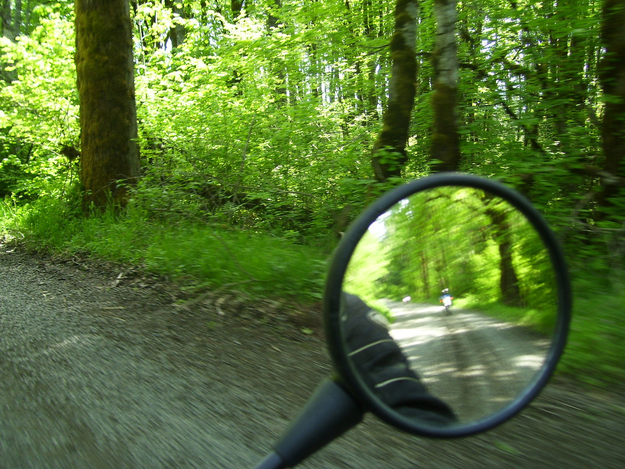 On the 24 road with Sylvia & Pauleen in the mirror.