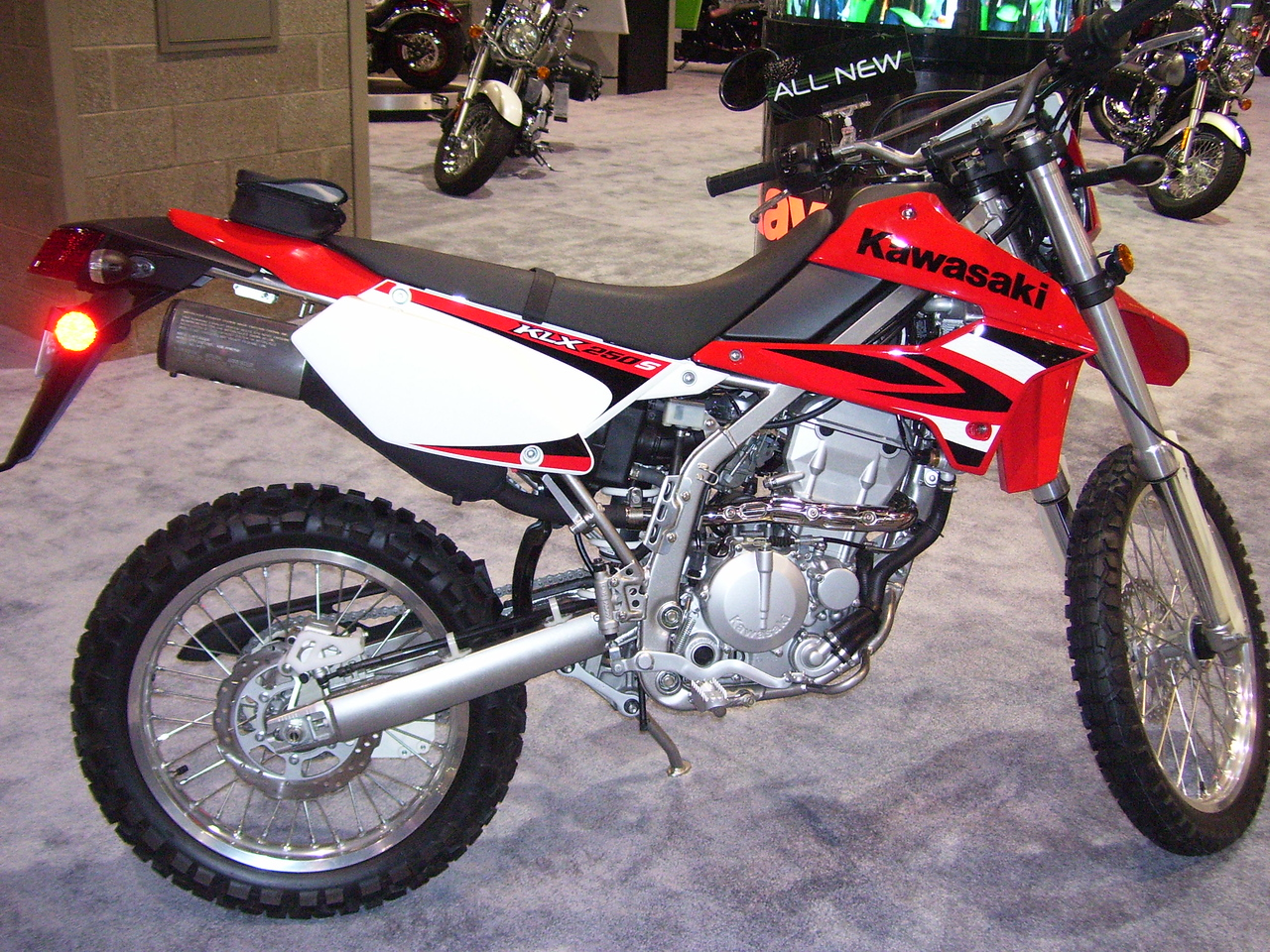 KLX 250S in red paint.