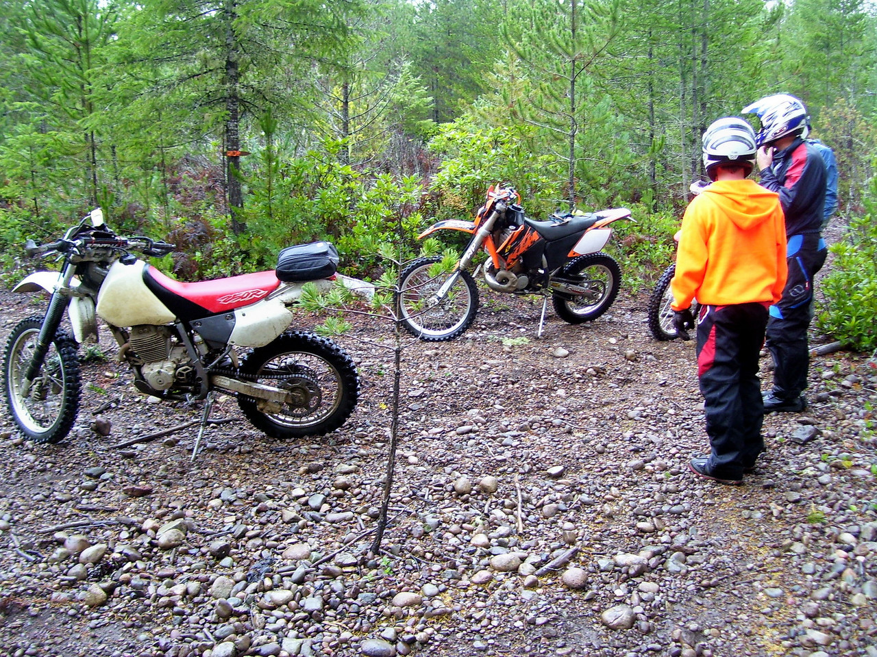 """Jon's XR 250 and Lan's KTM 200 Out near the """"Severed Hand Trail""""."""