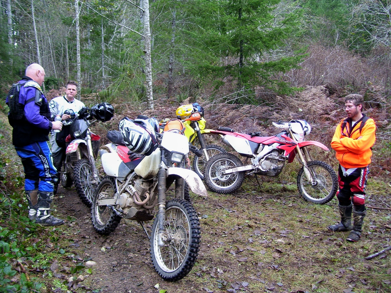 """Lunch break at the start of the """"Chernobyl Trail"""", the toughest quarter mile in the Tahuya."""