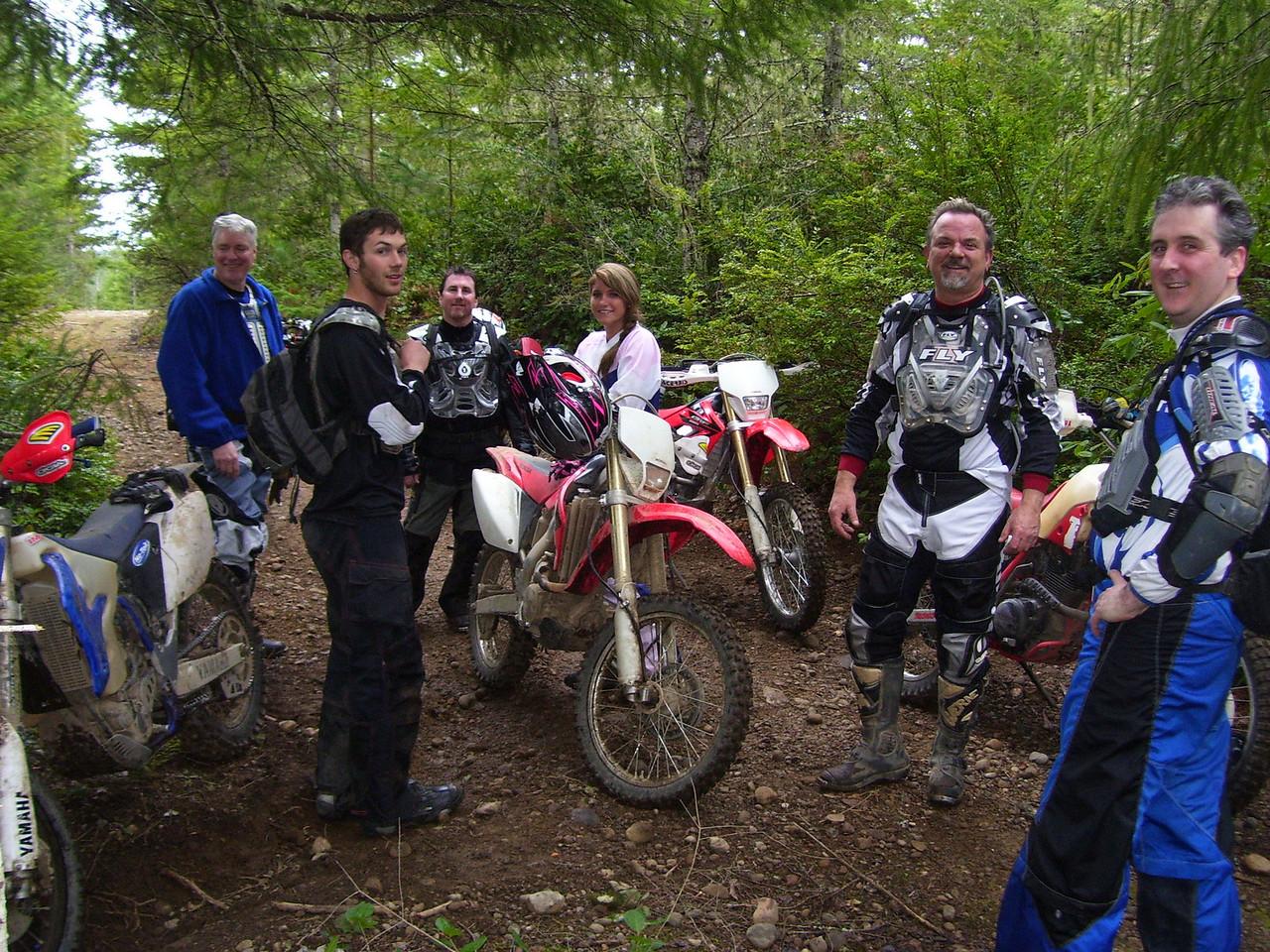 Wild Bill, Brandon, Dan, Julie, Marc, & Greg on a break. These trails are really fun.