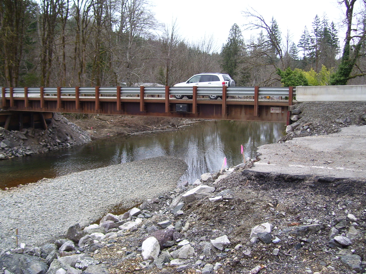 The temporary bridge replacing the washed out one on the Tahuya - Belfair Rd.