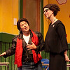 Elvis (Debra K. Stevens) croons to substitute teacher Viola Swamp (Katie McFadzen) in Childsplay's production of Miss Nelson is Missing!<br /> Photo Credit: Heather Hill
