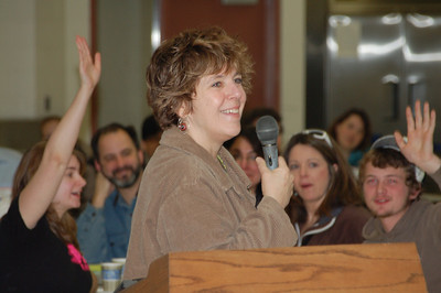 Jill Schoonmaker, Executive Director of New Hampshire Destination ImagiNation welcomes the 250 appraisers for training.