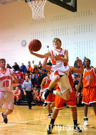 Hanover Nighthawk Shea Staub attempts a basket. From 2008 12 17 Basketball Hanover 51 Northeastern 46.